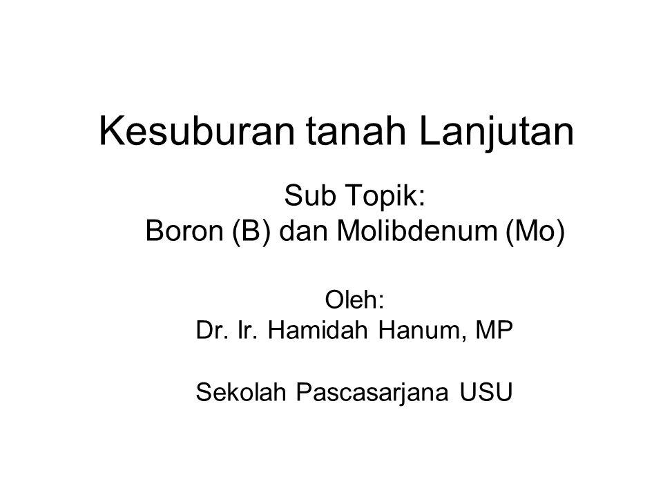 Kesuburan tanah Lanjutan Sub Topik: Boron (B) dan Molibdenum (Mo) Oleh: Dr.