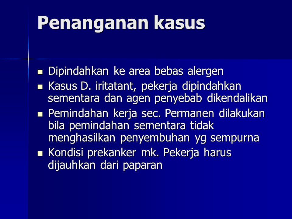 Penanganan kasus Dipindahkan ke area bebas alergen Dipindahkan ke area bebas alergen Kasus D.