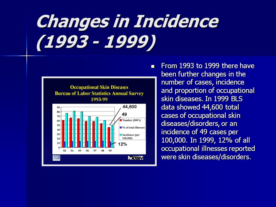 Changes in Incidence (1993 - 1999) From 1993 to 1999 there have been further changes in the number of cases, incidence and proportion of occupational