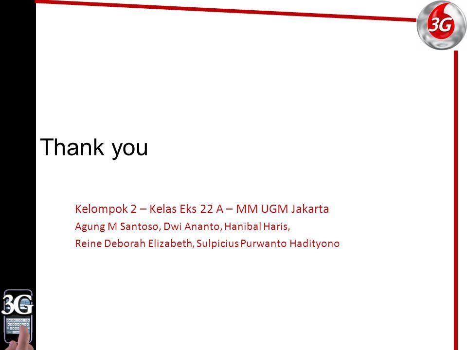 Thank you Kelompok 2 – Kelas Eks 22 A – MM UGM Jakarta Agung M Santoso, Dwi Ananto, Hanibal Haris, Reine Deborah Elizabeth, Sulpicius Purwanto Hadityono