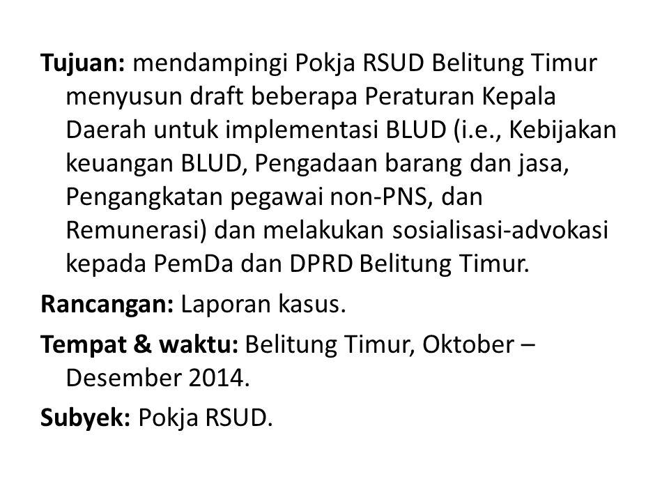 Tujuan: mendampingi Pokja RSUD Belitung Timur menyusun draft beberapa Peraturan Kepala Daerah untuk implementasi BLUD (i.e., Kebijakan keuangan BLUD,
