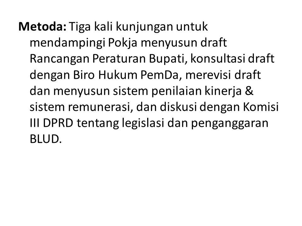 Metoda: Tiga kali kunjungan untuk mendampingi Pokja menyusun draft Rancangan Peraturan Bupati, konsultasi draft dengan Biro Hukum PemDa, merevisi draft dan menyusun sistem penilaian kinerja & sistem remunerasi, dan diskusi dengan Komisi III DPRD tentang legislasi dan penganggaran BLUD.