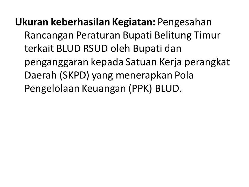 Ukuran keberhasilan Kegiatan: Pengesahan Rancangan Peraturan Bupati Belitung Timur terkait BLUD RSUD oleh Bupati dan penganggaran kepada Satuan Kerja perangkat Daerah (SKPD) yang menerapkan Pola Pengelolaan Keuangan (PPK) BLUD.