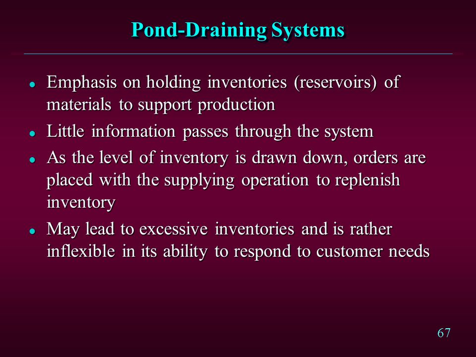 66 Types of Production-Planning and Control Systems l Pond-Draining Systems l Push Systems l Pull Systems l Focusing on Bottlenecks