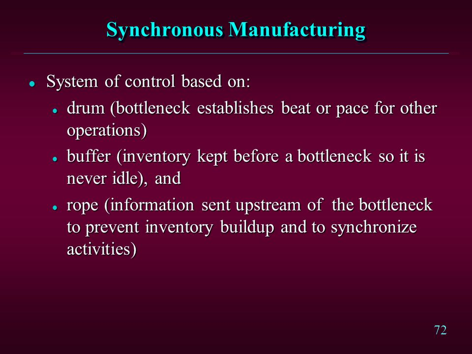 71 Synchronous Manufacturing l Operations performance measured by l throughput (the rate cash is generated by sales) l inventory (money invested in in