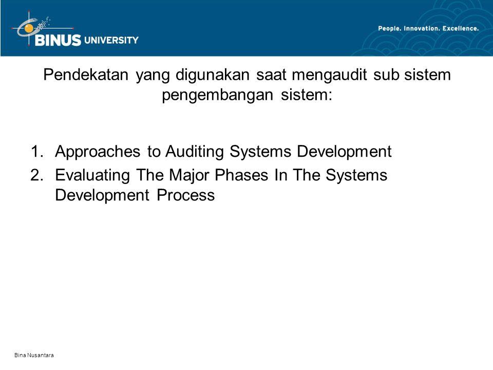 Bina Nusantara Pendekatan yang digunakan saat mengaudit sub sistem pengembangan sistem: 1.Approaches to Auditing Systems Development 2.Evaluating The