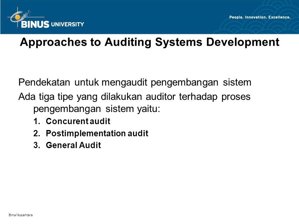 Bina Nusantara Approaches to Auditing Systems Development Pendekatan untuk mengaudit pengembangan sistem Ada tiga tipe yang dilakukan auditor terhadap
