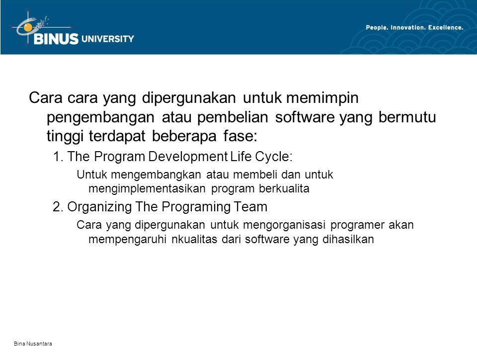 Bina Nusantara Cara cara yang dipergunakan untuk memimpin pengembangan atau pembelian software yang bermutu tinggi terdapat beberapa fase: 1. The Prog