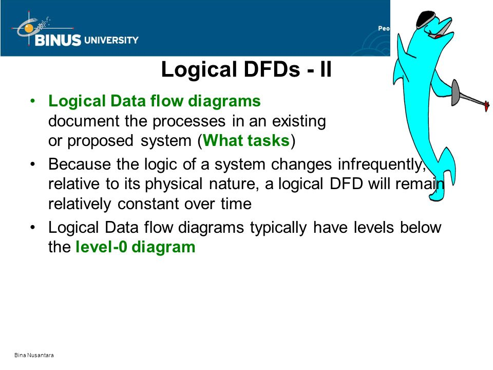 Bina Nusantara Logical DFDs - II Logical Data flow diagrams document the processes in an existing or proposed system (What tasks) Because the logic of