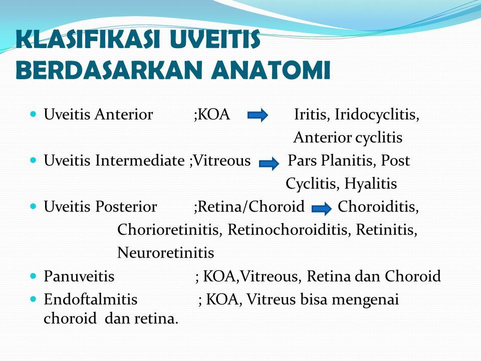 Keratic precipitates  Keratic precipitates (KPs) adalah kumpulan sel radang pada permukaan endotel kornea  Menunjukkan aktivitas proses inflamasi  KPs yang besar ; mutton fat  uveitis granulomatous
