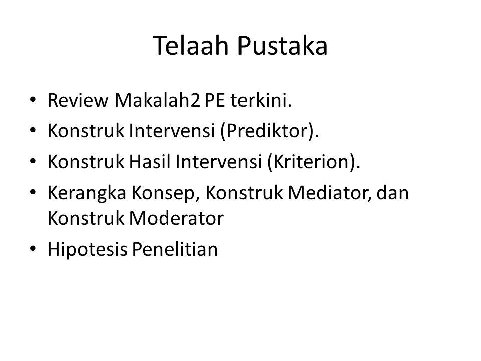 Telaah Pustaka Review Makalah2 PE terkini. Konstruk Intervensi (Prediktor).