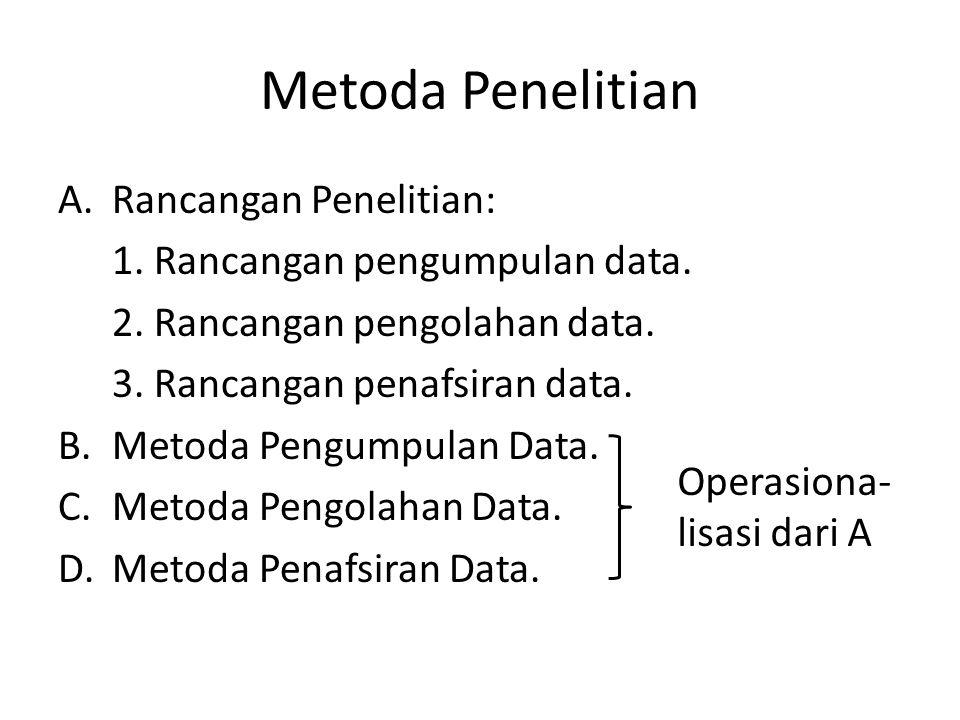 Metoda Penelitian A.Rancangan Penelitian: 1. Rancangan pengumpulan data.