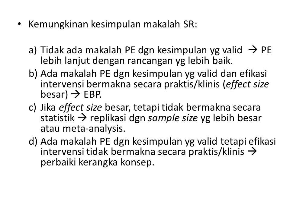 Kemungkinan kesimpulan makalah SR: a)Tidak ada makalah PE dgn kesimpulan yg valid  PE lebih lanjut dengan rancangan yg lebih baik.