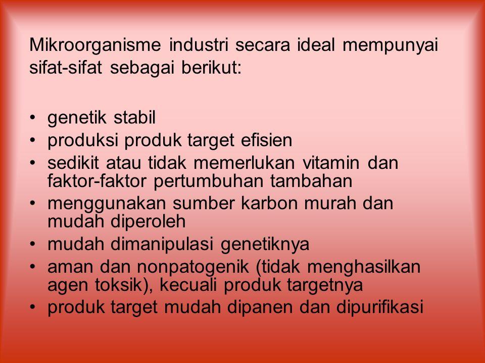Mikroorganisme industri secara ideal mempunyai sifat-sifat sebagai berikut: genetik stabil produksi produk target efisien sedikit atau tidak memerluka