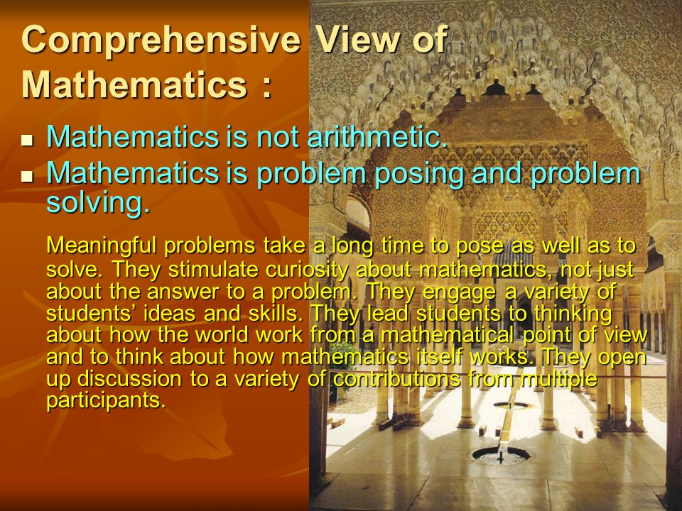 Comprehensive View of Mathematics : Mathematics is not arithmetic.