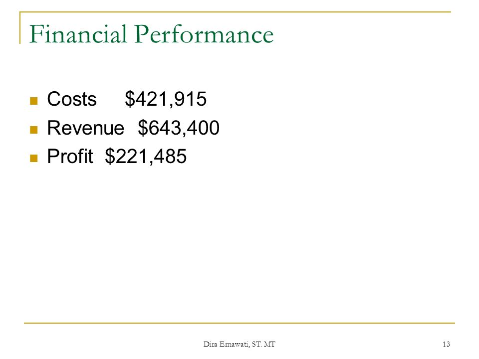 Dira Ernawati, ST. MT 13 Financial Performance Costs$421,915 Revenue $643,400 Profit $221,485