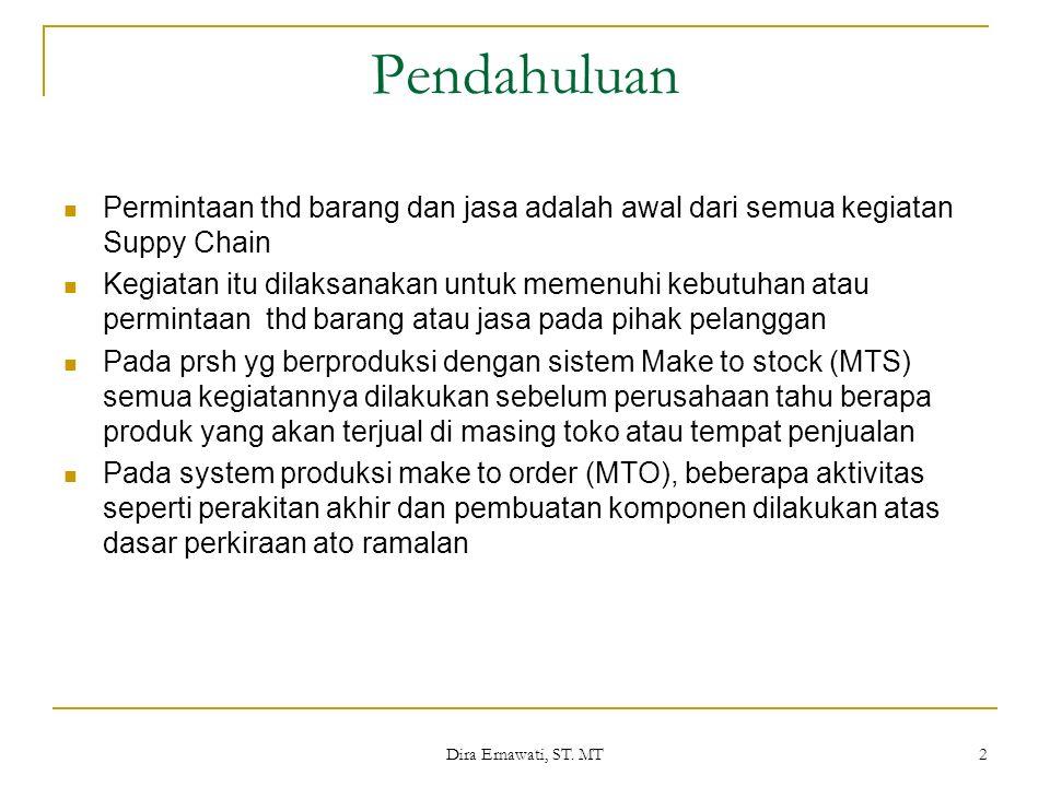 Dira Ernawati, ST. MT 2 Pendahuluan Permintaan thd barang dan jasa adalah awal dari semua kegiatan Suppy Chain Kegiatan itu dilaksanakan untuk memenuh
