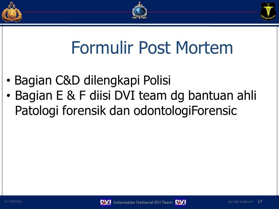 Formulir Post Mortem Bagian C&D dilengkapi Polisi Bagian E & F diisi DVI team dg bantuan ahli Patologi forensik dan odontologiForensic S E C R E T A R