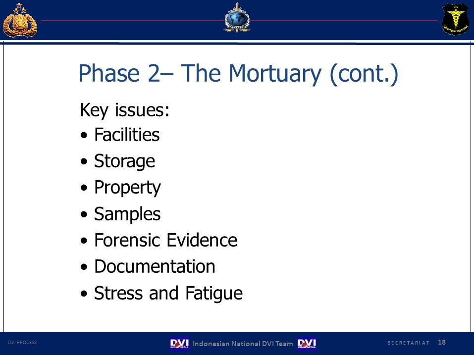 Phase 2– The Mortuary (cont.) Key issues: Facilities Storage Property Samples Forensic Evidence Documentation Stress and Fatigue S E C R E T A R I A T 18 Indonesian National DVI Team DVI PROCESS