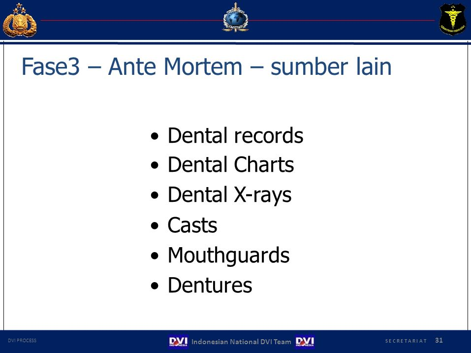 Dental records Dental Charts Dental X-rays Casts Mouthguards Dentures Fase3 – Ante Mortem – sumber lain S E C R E T A R I A T 31 Indonesian National DVI Team DVI PROCESS