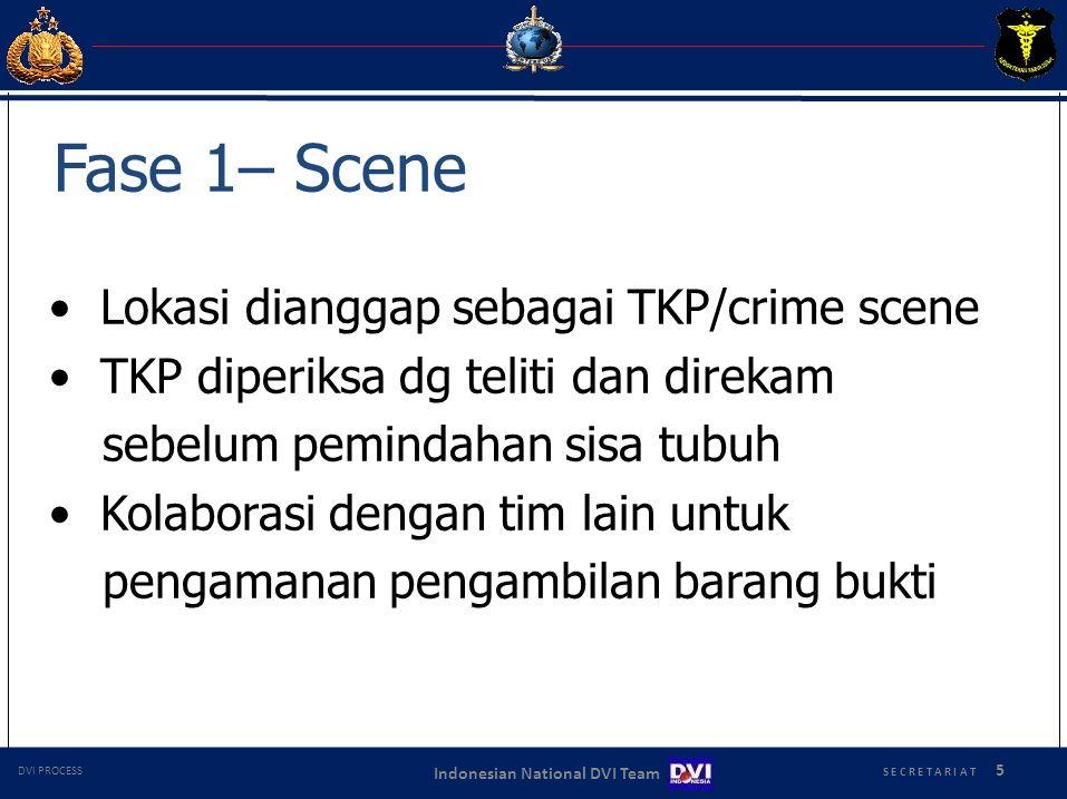 S E C R E T A R I A T 5 Indonesian National DVI Team DVI PROCESS Fase 1– Scene Lokasi dianggap sebagai TKP/crime scene TKP diperiksa dg teliti dan dir