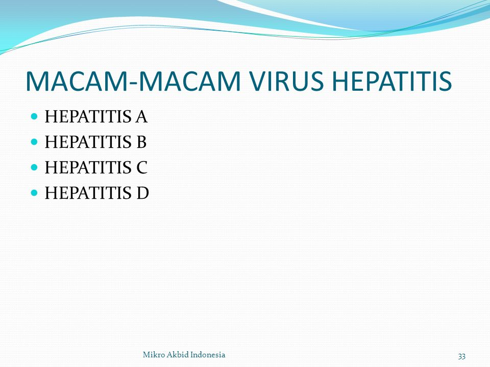 MACAM-MACAM VIRUS HEPATITIS HEPATITIS A HEPATITIS B HEPATITIS C HEPATITIS D 33Mikro Akbid Indonesia