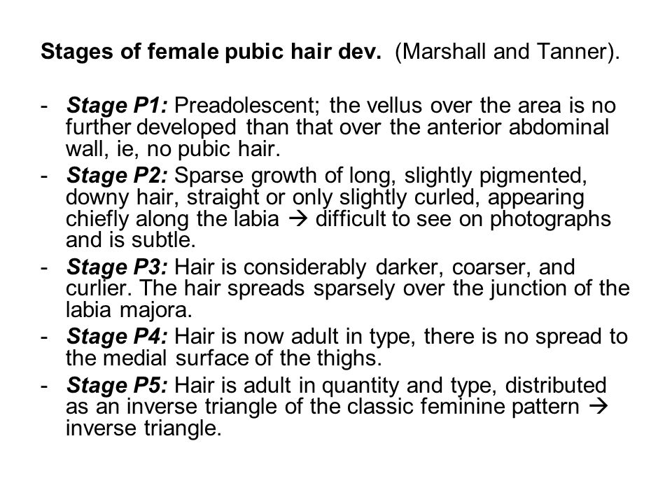 Stages of female pubic hair dev.(Marshall and Tanner).