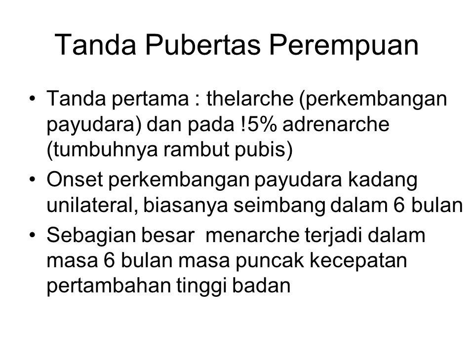Tanda Pubertas Perempuan Tanda pertama : thelarche (perkembangan payudara) dan pada !5% adrenarche (tumbuhnya rambut pubis) Onset perkembangan payudar