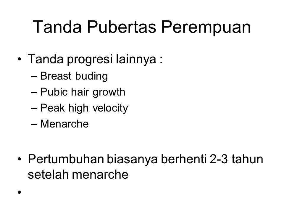 Tanda Pubertas Perempuan Tanda progresi lainnya : –Breast buding –Pubic hair growth –Peak high velocity –Menarche Pertumbuhan biasanya berhenti 2-3 ta