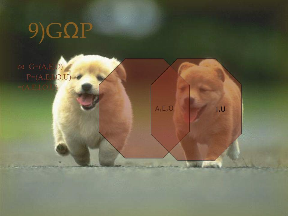 9)G Ω P  G=(A,E,O) P=(A,E,I,O,U) =(A,E,I,O,U) A,E,O I,U