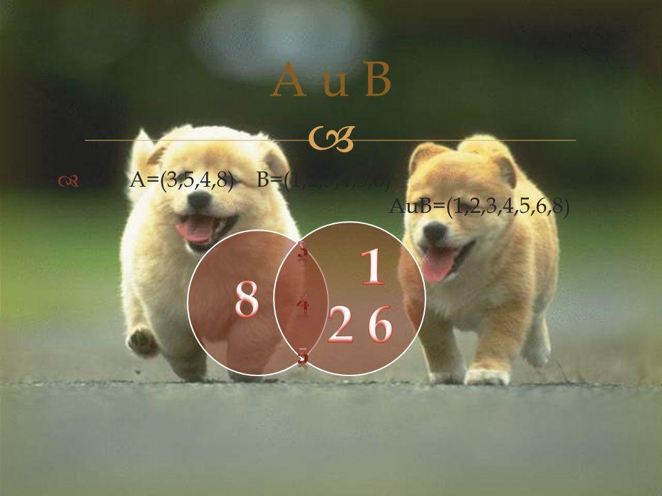   A=(3,5,4,8)B=(1,2,3,4,5,6) AuB=(1,2,3,4,5,6,8) A u B
