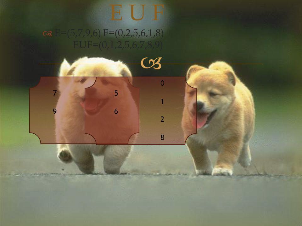   E=(5,7,9,6)F=(0,2,5,6,1,8) EUF=(0,1,2,5,6,7,8,9) E U F 7979 5656 01280128