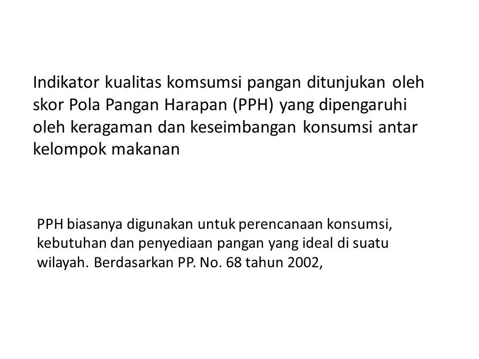 Kualitas konsumsi pangan di tengah masyarakat Indonesia masih dirasakan kurang beragam dan bergizi seimbang.