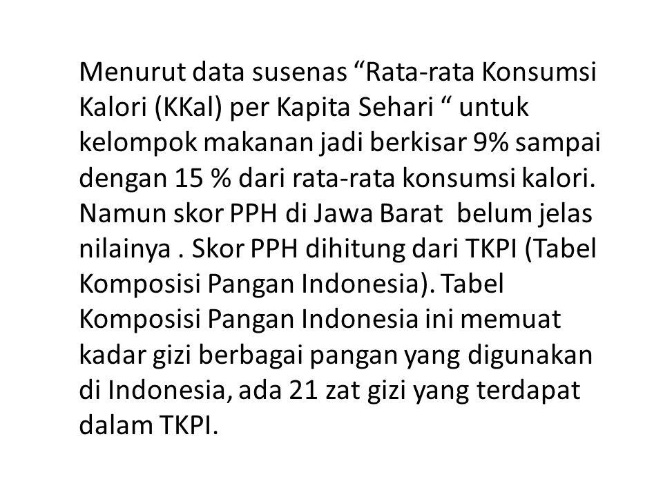 Untuk kepentingan perhitungan skor PPH dibutuhkan penghitungan konsumsi kalori dan fraksi kelompok makanan yang ada di Jawa Barat secara lebih teliti.