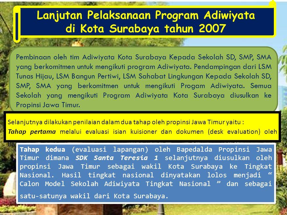 Pembinaan oleh tim Adiwiyata Kota Surabaya Kepada Sekolah SD, SMP, SMA yang berkomitmen untuk mengikuti program Adiwiyata. Pendampingan dari LSM Tunas