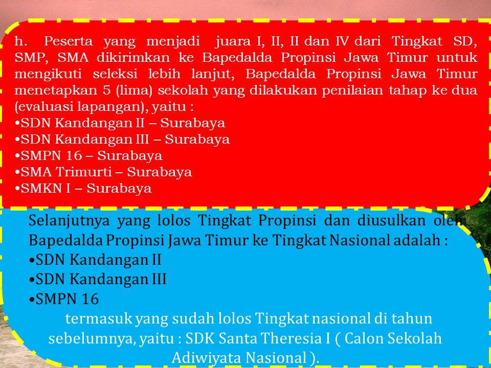 h. Peserta yang menjadi juara I, II, II dan IV dari Tingkat SD, SMP, SMA dikirimkan ke Bapedalda Propinsi Jawa Timur untuk mengikuti seleksi lebih lan