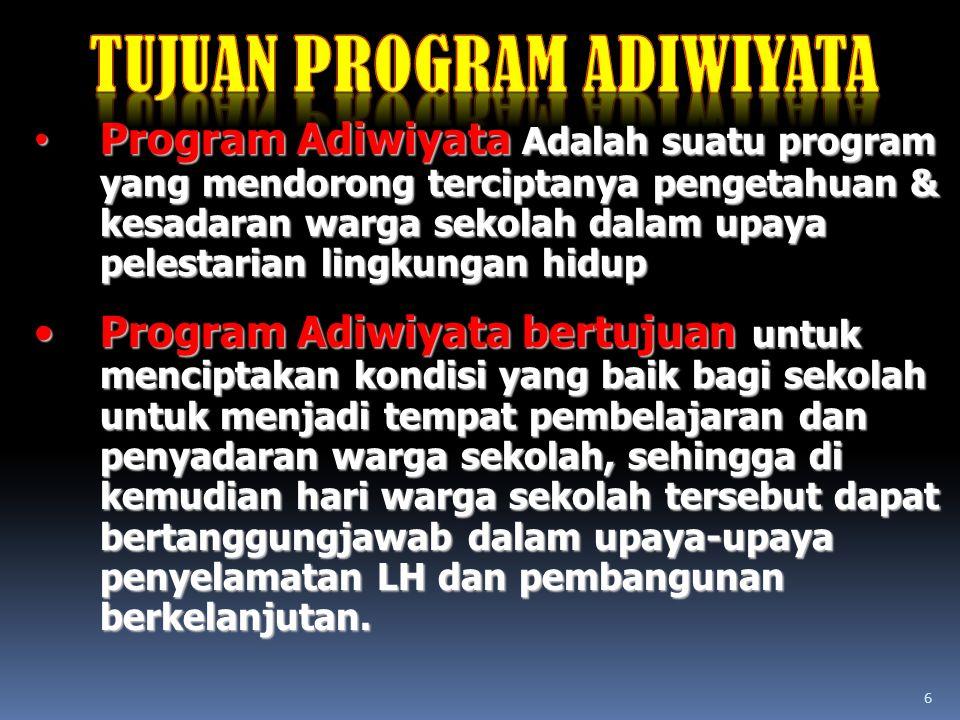 6 Program Adiwiyata Adalah suatu program yang mendorong terciptanya pengetahuan & kesadaran warga sekolah dalam upaya pelestarian lingkungan hidup Pro