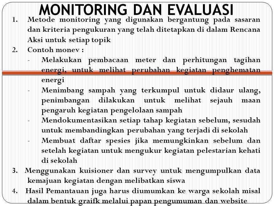 MONITORING DAN EVALUASI 1.Metode monitoring yang digunakan bergantung pada sasaran dan kriteria pengukuran yang telah ditetapkan di dalam Rencana Aksi