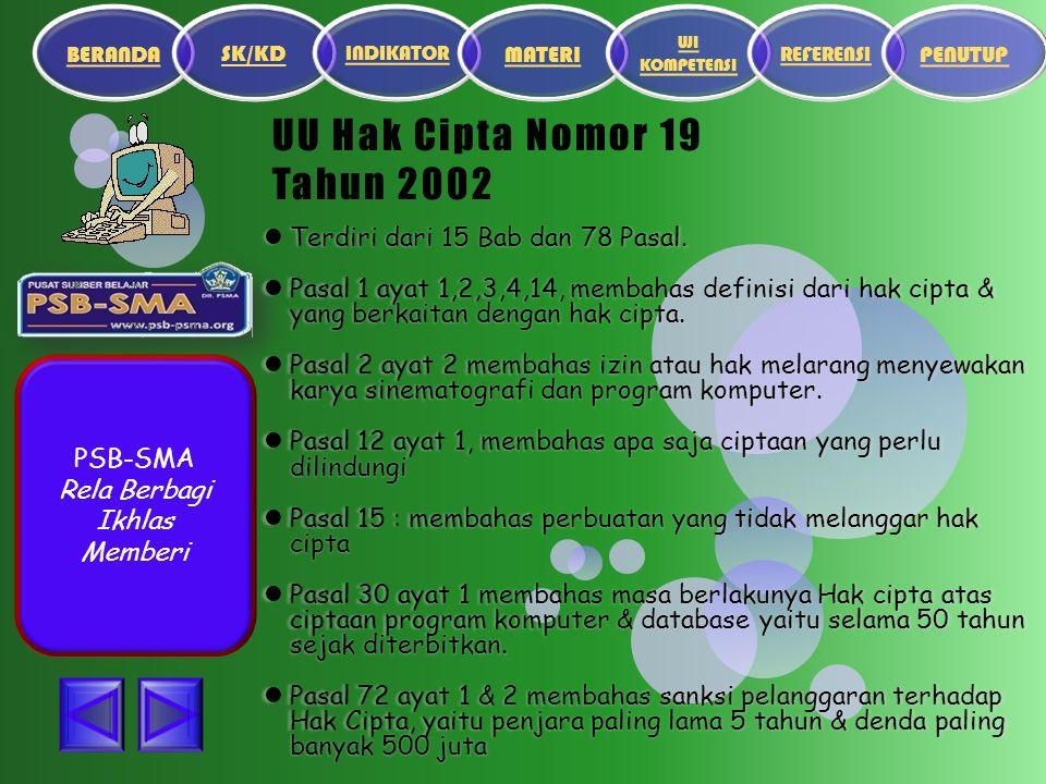 PSB-SMA Rela Berbagi Ikhlas Memberi UU Hak Cipta Nomor 19 Tahun 2002 Terdiri dari 15 Bab dan 78 Pasal.