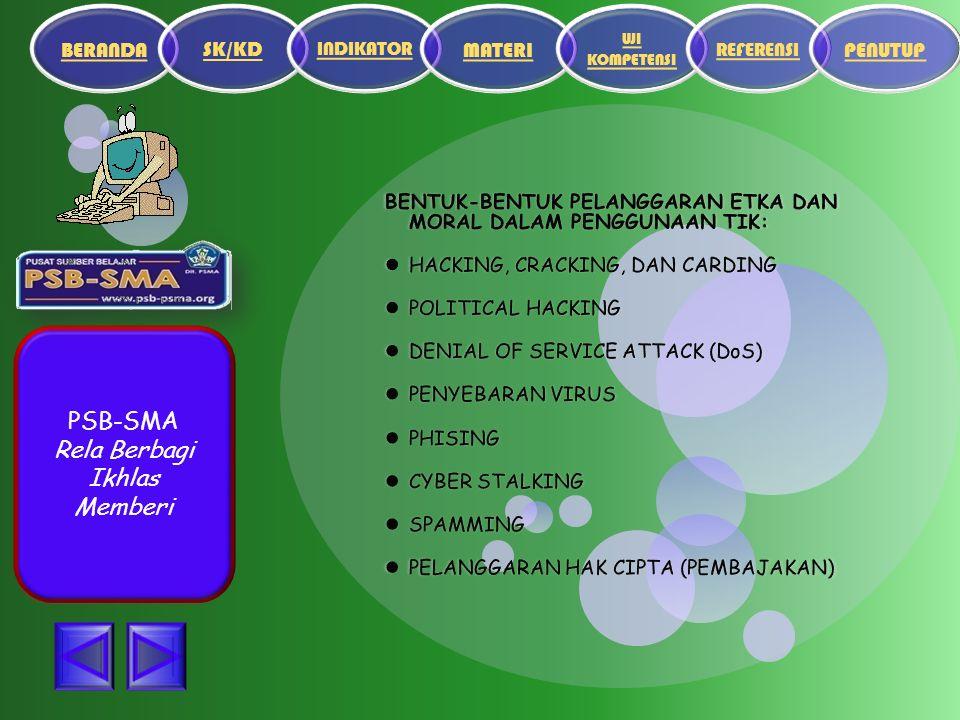 PSB-SMA Rela Berbagi Ikhlas Memberi BENTUK-BENTUK PELANGGARAN ETKA DAN MORAL DALAM PENGGUNAAN TIK: HACKING, CRACKING, DAN CARDING HACKING, CRACKING, DAN CARDING POLITICAL HACKING POLITICAL HACKING DENIAL OF SERVICE ATTACK (DoS) DENIAL OF SERVICE ATTACK (DoS) PENYEBARAN VIRUS PENYEBARAN VIRUS PHISING PHISING CYBER STALKING CYBER STALKING SPAMMING SPAMMING PELANGGARAN HAK CIPTA (PEMBAJAKAN) PELANGGARAN HAK CIPTA (PEMBAJAKAN)