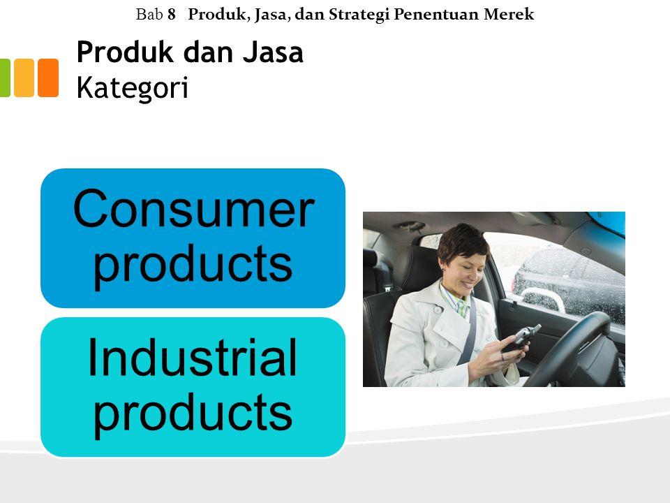 Produk dan Jasa Kategori Consumer products Industrial products Bab 8 Produk, Jasa, dan Strategi Penentuan Merek