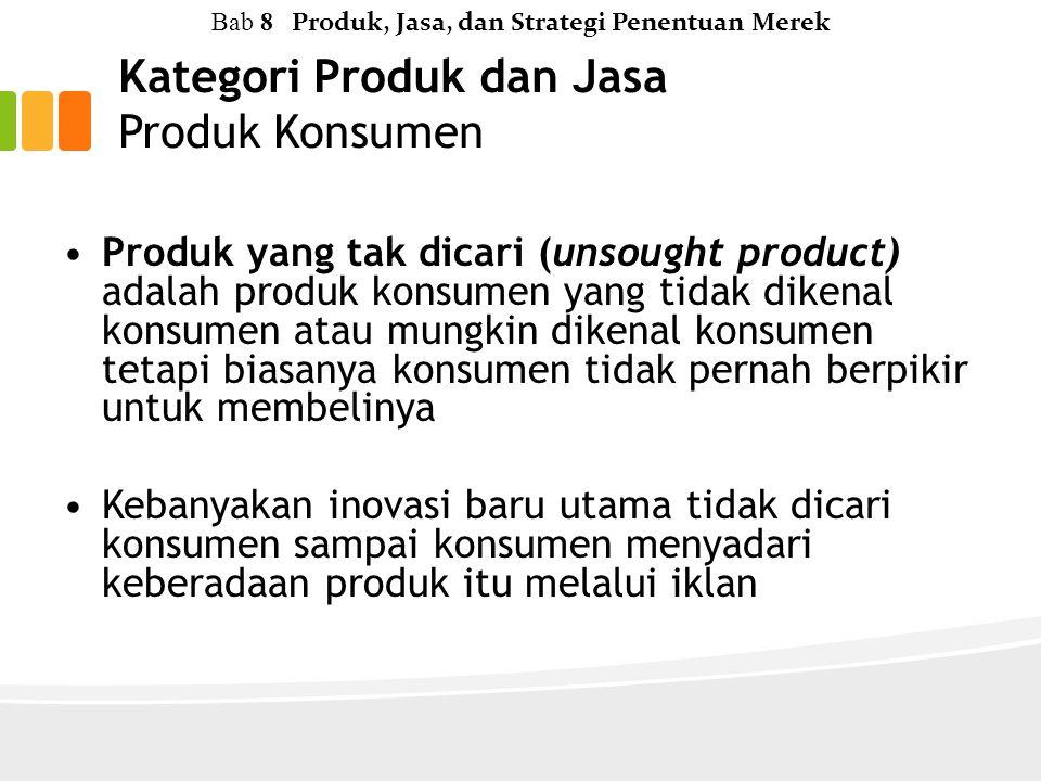 Kategori Produk dan Jasa Produk Konsumen Bab 8 Produk, Jasa, dan Strategi Penentuan Merek Produk yang tak dicari (unsought product) adalah produk konsumen yang tidak dikenal konsumen atau mungkin dikenal konsumen tetapi biasanya konsumen tidak pernah berpikir untuk membelinya Kebanyakan inovasi baru utama tidak dicari konsumen sampai konsumen menyadari keberadaan produk itu melalui iklan