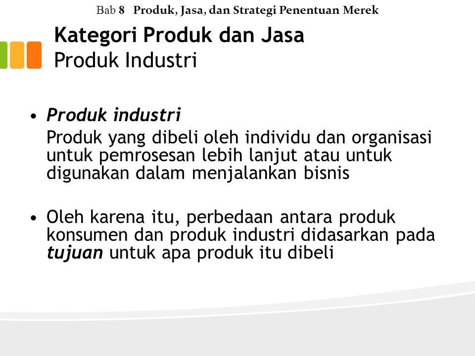 Kategori Produk dan Jasa Produk Industri Bab 8 Produk, Jasa, dan Strategi Penentuan Merek Produk industri Produk yang dibeli oleh individu dan organisasi untuk pemrosesan lebih lanjut atau untuk digunakan dalam menjalankan bisnis Oleh karena itu, perbedaan antara produk konsumen dan produk industri didasarkan pada tujuan untuk apa produk itu dibeli