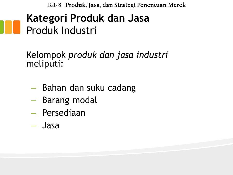 Kategori Produk dan Jasa Produk Industri Kelompok produk dan jasa industri meliputi: – Bahan dan suku cadang – Barang modal – Persediaan – Jasa Bab 8 Produk, Jasa, dan Strategi Penentuan Merek
