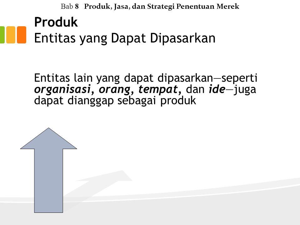 Produk Entitas yang Dapat Dipasarkan Entitas lain yang dapat dipasarkan—seperti organisasi, orang, tempat, dan ide—juga dapat dianggap sebagai produk Bab 8 Produk, Jasa, dan Strategi Penentuan Merek