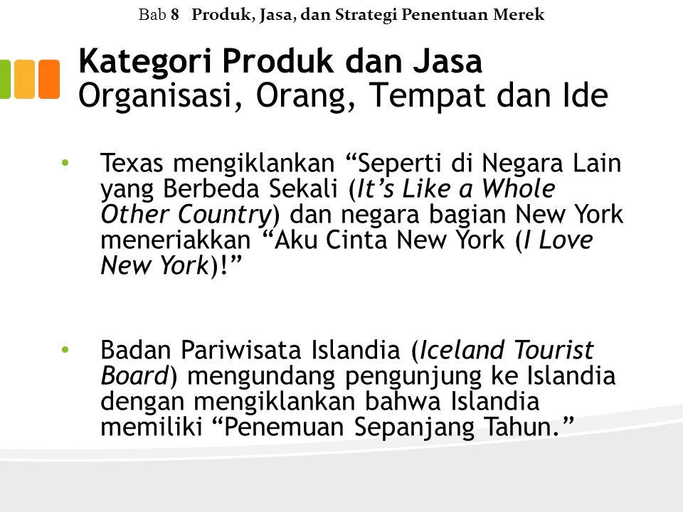 Texas mengiklankan Seperti di Negara Lain yang Berbeda Sekali (It's Like a Whole Other Country) dan negara bagian New York meneriakkan Aku Cinta New York (I Love New York)! Badan Pariwisata Islandia (Iceland Tourist Board) mengundang pengunjung ke Islandia dengan mengiklankan bahwa Islandia memiliki Penemuan Sepanjang Tahun. Kategori Produk dan Jasa Organisasi, Orang, Tempat dan Ide Bab 8 Produk, Jasa, dan Strategi Penentuan Merek