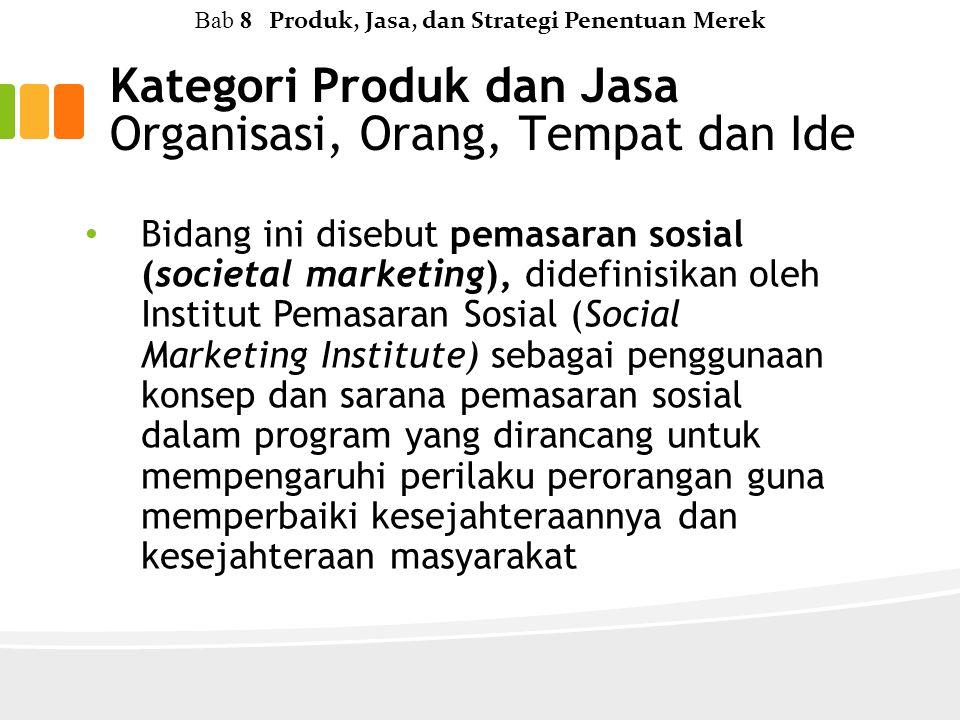 Bidang ini disebut pemasaran sosial (societal marketing), didefinisikan oleh Institut Pemasaran Sosial (Social Marketing Institute) sebagai penggunaan konsep dan sarana pemasaran sosial dalam program yang dirancang untuk mempengaruhi perilaku perorangan guna memperbaiki kesejahteraannya dan kesejahteraan masyarakat Kategori Produk dan Jasa Organisasi, Orang, Tempat dan Ide Bab 8 Produk, Jasa, dan Strategi Penentuan Merek
