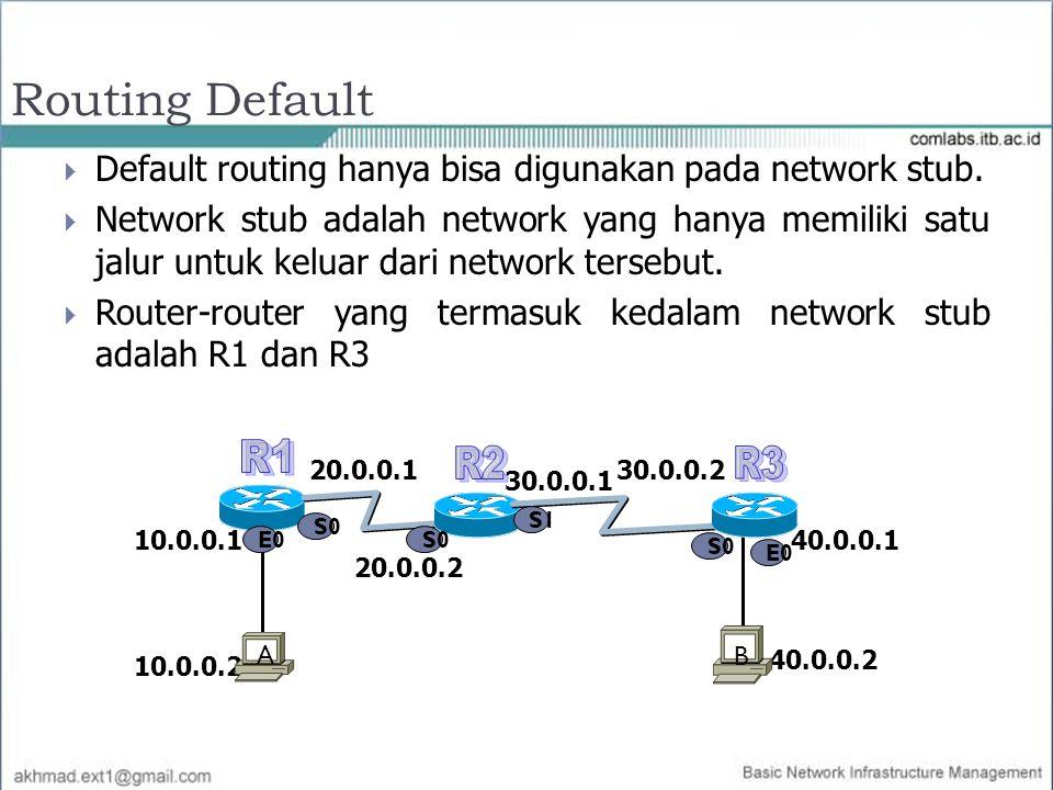 Routing Default  Default routing hanya bisa digunakan pada network stub.  Network stub adalah network yang hanya memiliki satu jalur untuk keluar da