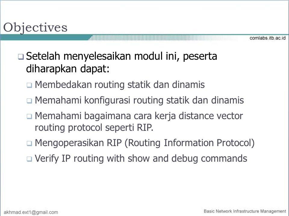 Objectives  Setelah menyelesaikan modul ini, peserta diharapkan dapat:  Membedakan routing statik dan dinamis  Memahami konfigurasi routing statik