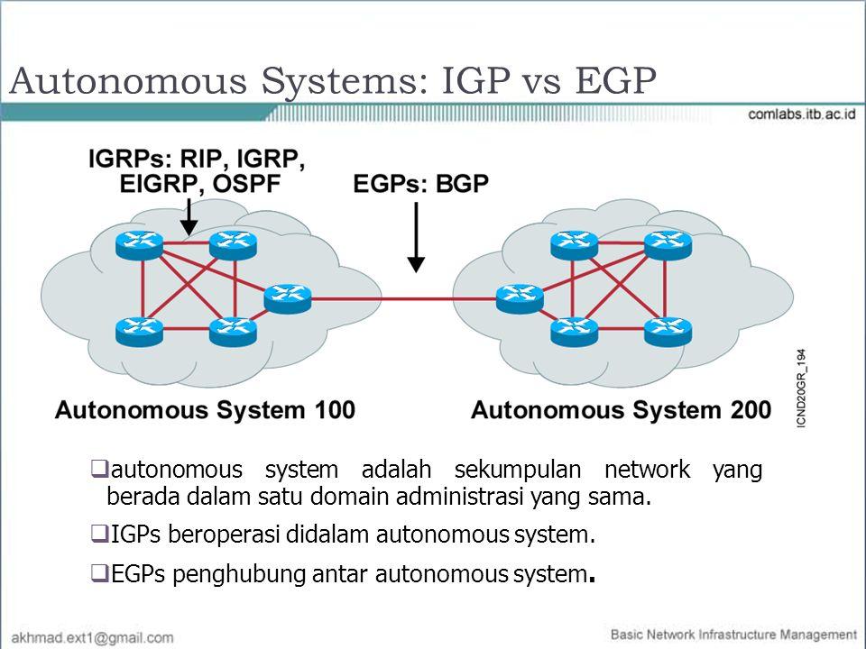  autonomous system adalah sekumpulan network yang berada dalam satu domain administrasi yang sama.  IGPs beroperasi didalam autonomous system.  EGP